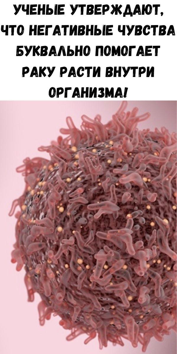 Ученые утверждают, что негативные чувства буквально помогает раку расти внутри организма!
