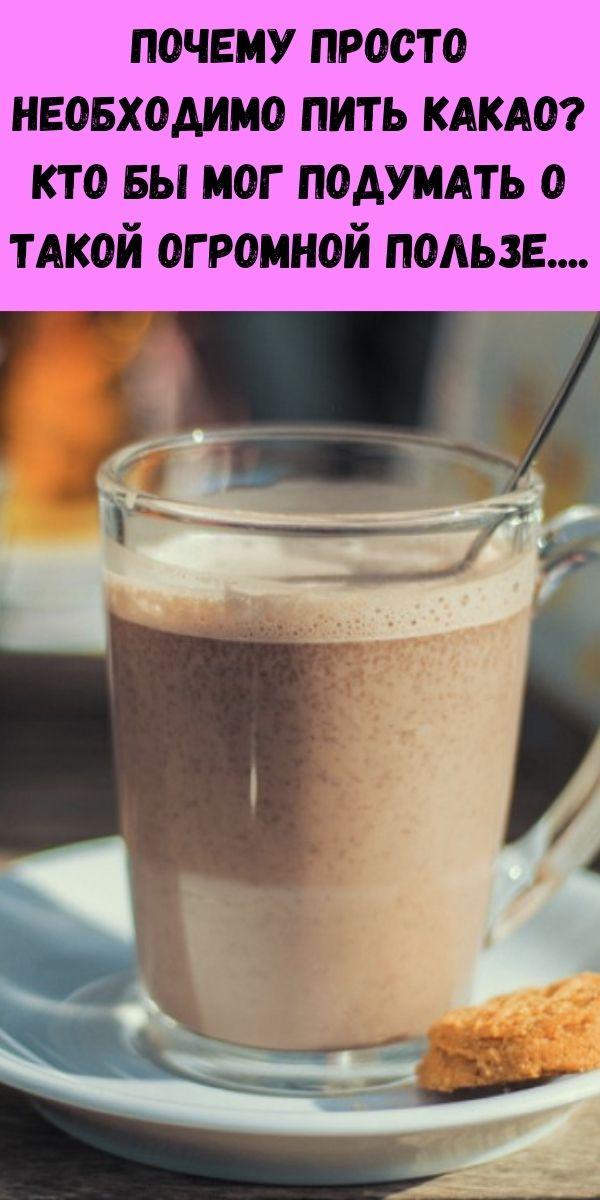 Почему просто необходимо пить какао? Кто бы мог подумать о такой огромной пользе....