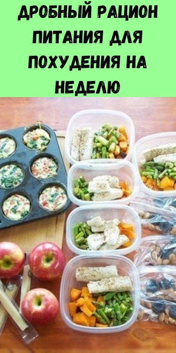Дробный рацион питания для похудения на неделю