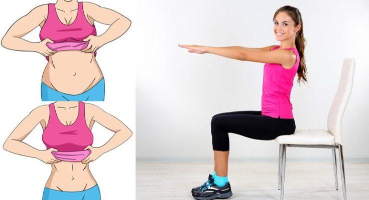 5 упражнений для плоского живота: вам даже не придется вставать со стула!